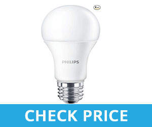 Philips Non-Dimmable A19 Frosted LED Light Bulb - best light bulbs for bathroom with no windows