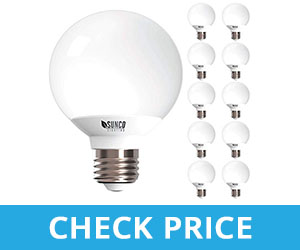 Sunco Dimmable Soft White LED Globe Bulbs  - best light bulbs for bathroom makeup - best led light bulbs for bathroom vanity